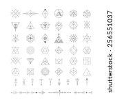 set of vector trendy geometric... | Shutterstock .eps vector #256551037