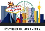 Stock vector las vegas welcome sign and city 256565551
