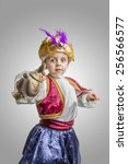 child in sultan costume with... | Shutterstock . vector #256566577