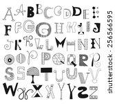 hand drawn alphabet letters... | Shutterstock .eps vector #256566595