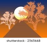 night landscape tree scenic design - stock photo