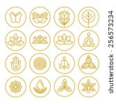 vector yoga icons and round... | Shutterstock .eps vector #256573234