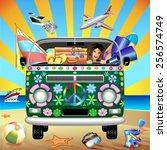 hippie groovy van traveling to... | Shutterstock .eps vector #256574749