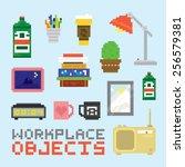 workplace objects in pixel art... | Shutterstock .eps vector #256579381