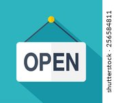 vector open door sign. flat... | Shutterstock .eps vector #256584811