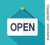 vector open door sign. flat... | Shutterstock .eps vector #256584811