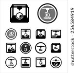 3d print icon set | Shutterstock .eps vector #256584919
