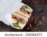 tuna nicoise sandwich  also... | Shutterstock . vector #256586371