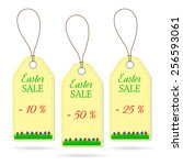 set of three easter price... | Shutterstock .eps vector #256593061