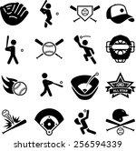 baseball and softball icons   Shutterstock .eps vector #256594339
