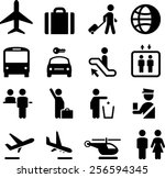 airport and travel icons | Shutterstock .eps vector #256594345