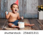 Adorable Baby Boy Wearing A Re...