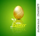happy easter with golden egg... | Shutterstock .eps vector #256606879
