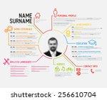 vector original minimalist cv   ... | Shutterstock .eps vector #256610704