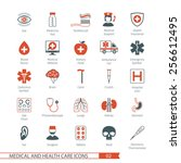 medical and health care icons... | Shutterstock .eps vector #256612495