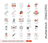 medical and health care icons... | Shutterstock .eps vector #256612501