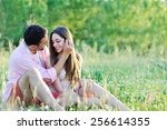young couple in love having fun ... | Shutterstock . vector #256614355