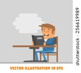 funny guy at the table. vector... | Shutterstock .eps vector #256619989