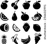 fruit icons | Shutterstock .eps vector #256632991
