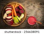 various freshly squeezed... | Shutterstock . vector #256638091