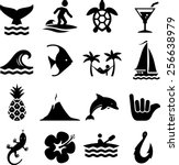 island theme icon set | Shutterstock .eps vector #256638979