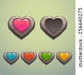 set of cartoon stone hearts ...