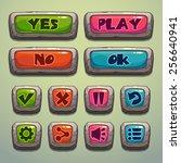 set of cartoon stone buttons ...
