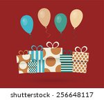 vintage retro happy birthday... | Shutterstock .eps vector #256648117