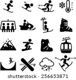 skiing and snowboarding icons | Shutterstock .eps vector #256653871