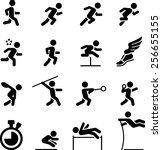 running  jumping and throwing... | Shutterstock .eps vector #256655155
