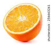 Small photo of Orange half. Fruit isolated on white background