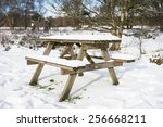 Snow Covered Picnic Bench In...