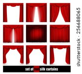 Vector Set Of Red Silk Curtain...