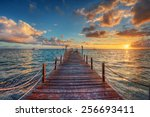 Bright Sunset Over Sea Pier
