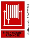 fire hose reel sign and symbol... | Shutterstock .eps vector #256696969