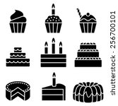 vector cakes and cupcakes | Shutterstock .eps vector #256700101