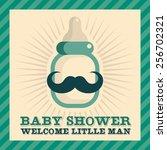 blue baby shower greeting card...   Shutterstock .eps vector #256702321