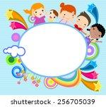 children and frame | Shutterstock .eps vector #256705039
