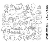 doodle decorative icons set... | Shutterstock .eps vector #256705309