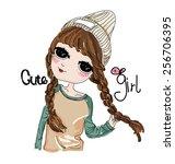 sketch cute girl | Shutterstock .eps vector #256706395