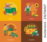 farmer family business 4 flat... | Shutterstock .eps vector #256706407