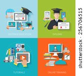 online education design concept ... | Shutterstock .eps vector #256706515