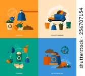 garbage design concept set with ... | Shutterstock .eps vector #256707154
