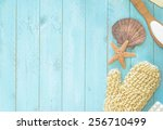 Aqua Painted Board Background...
