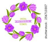 wreath of tulips. watercolor... | Shutterstock .eps vector #256713307