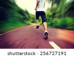 young fitness woman runner legs ... | Shutterstock . vector #256727191
