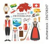 welcome to switzerland travel...   Shutterstock .eps vector #256728247