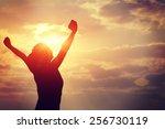 strong confidence woman open... | Shutterstock . vector #256730119