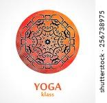 mandala   flower circle design... | Shutterstock .eps vector #256738975