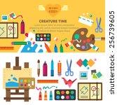 creative set for artist. ideas  ... | Shutterstock .eps vector #256739605